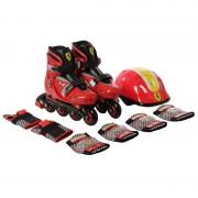 Ferrari® Gyermek Combo Piros 29-32 között állítható görkorcsolya szett sisakkal és védőfelszerelésse