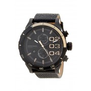Diesel Mens Double Down Chronograph Leather Watch BLACK