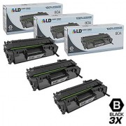 LD Compatible Replacements for Hewlett Packard CF280A (HP 80A) Set of 3 Black Laser Toner Cartridges for use in the LaserJet Pro 400 M401dn 400 M401dne 400 M401dw 400 M401n & 400 M425dn