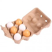 Bigjigs Toys BJ711 Wooden Play Food Six Eggs in Carton by Bigjigs Toys