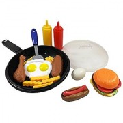 Liberty Imports Fast Food Cooking Pan 25 Piece Kitchen Play Food Set For Kids (Cheese Burger Hotdog Chicken & More)