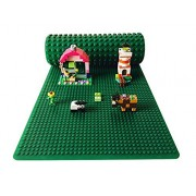 "Icellent Green Silicone Brick Building Play Mat, 12"" X 32"" Double Sided Baseplate Mat, Rollable And Flexible, Compatible With Lego And Duplo For Activity Tables"