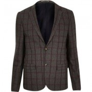 River Island Mens Grey checked cropped skinny suit jacket