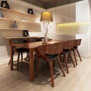 vidaXL Matstol läder med kraftig träram brun 6-pack