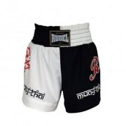 Shorts Muay Thai - Coração Valente - Preto/Branco - Rudel-P
