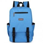 Casual Canvas Backpack Laptop Bag Shoulder School Backpacks for Girls Boys (Sky Blue)