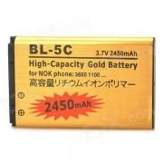 """BL-5C-GD 3.7V """"2450mAh"""" Li-ion pour Nokia 1100, 1101, 1100, 1108, 1160 + Plus - Golden"""