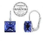 Silvego SILVEGO stříbrné náušnice se Swarovski(R) Crystals 8 mm safír - SILVEGOB31474B