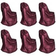 vidaXL Калъфи за столове, сватба, виненочервени – 6 броя