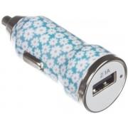 Incarcator Auto Trendz Bullet Ditsy Floral TZICUSBDFM, 1 USB, cablu MicroUSB inclus, 2.1A (Albastru)