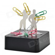 Creative Magnetic Woman & Man & Paper Clips Building Educational Toy Set - Black + Silver
