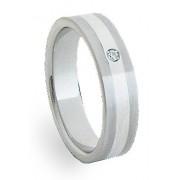 Ocelový prsten se stříbrem ZAG06101
