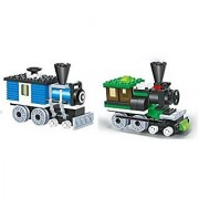 LITTLE BUILDER - Mini Train Blocks 2 Individual Building Brick Playsets with 127 pc Toy Bricks Included - 2 Separate Leg