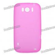 Cas de protection arrière de PVC souple pour HTC Sensation XL X315e G21 - rose foncé