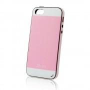 Калъф с кожен гръб – силиконов Fashion Style за IPhone 5s розов-бял