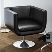 vidaXL Nastaviteľná moderná čierna barová stolička s chrómovou základňou