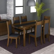 Conjunto Mesa de Jantar Veneza Imbuia/Preto + 6 Cadeiras Imbuia Courino Preto - Madesa