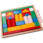 WOODEN TOYS BUILDING BLOCKS-SMALL WITH WOODEN BOX (SET OF 32 PCS.)