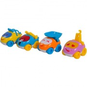 Venus Toys 04 Different Colourfull Pull Along Car Set For Baby Children