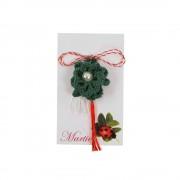 Martisor Brosa, Crosetat Manual, Buticocochet, Floare Verde cu Perla Alba