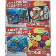 Bundle of Two 2 in 1 Puzzles by LPF for a Total of Four Puzzles! Underwater Symphony, Seaside Souvenirs ~ Sea Turtles, Rainbow Cupcakes