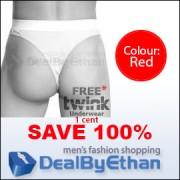 Twink Solid G String FREE Men's Underwear Red