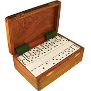 Domino Double Nine White in Dovetail Jointed Sheesham Wood Box - Jumbo Tournament Size