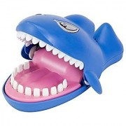 Bits and Pieces-Snappy Shark Game - Dentist Game - Classic Biting Hand Game-Catch Me Game Flashing Eyes Evil Laugh Hungry Shark - Measures 9 long x 5-1/4 wide x 4 tall