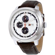 Tommy Hilfiger 1790968 Mens Silver and Brown Fitz Watch
