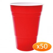"""American Red Plastic Party Cups - 425ml (50 Pack)"""