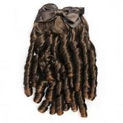 moda estilo princesa marrom extensão do cabelo encaracolado clipe
