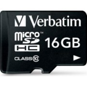Card de Memorie Verbatim Micro SDHC 16GB Clasa 10 cu adaptor