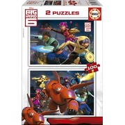 Educa 16337 - 2 Puzzle da 100 Pezzi, Tematica Big Hero 6