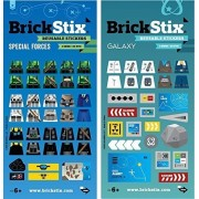 Brick Stix Special Forces + Galaxy 2 Pack Reusable Stickers For Your Bricks (Lego Brick Compatible)