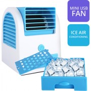 Unisex Mini Small Fan Cooling Portable Desktop Dual Bladeless Air Cooler USB