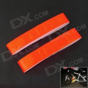 Velcro Tape Light Reflection Arm Band for Night Cycling - Red (2 Pieces/Set)