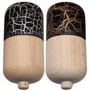 2 PACK - KENDAMA TOY CO. - The Best Kendama Pill For All Kinds Of Fun - Awesome Colors: Wood Black Gold (top) and Black