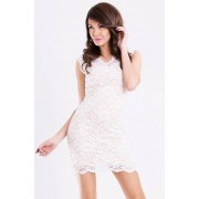 EMAMODA Dámské párty společenské krátké krajkové šaty EMAMODA bílé - L
