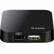 D-Link 4-Port USB 2.0 Hub including Fast Charging Port mini USB 2.0 Port and 5V/2.5A Power Adapter (DUB-H4)