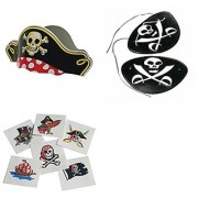 Novelty Treasures Pirate Party Set of 12 Hats 12 Eye Patches and 144 Tattoos