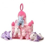 Unipak 12 Pink Plush Horse Castle - 5 Stuffed Animal Horses in Pink Castle Carrying Case