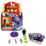 Lego Year 2011 Ninjago Masters of Spinjitzu Animated Series Battle Figure Set # 2256 - GARMADON with Thunderbolt Double-Scythe and Silver Troll Scimitar Plus Purple Optic Spinner 1 Character Card 4 Battle Cards and LEGO bricks (Total Pieces: 23)