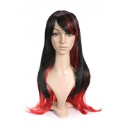 Jet Black and Red with Bangs Long Length Anime Cosplay Costume Peluca