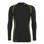 Skins Men's A200 Thermal Long Sleeve Compression Mock Neck Top - Black/Yellow - L