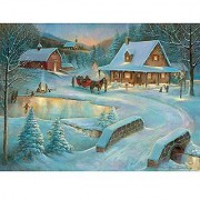 Bits and Pieces - 500 Piece Jigsaw Puzzle - Village Pond - Christmas Village - by Artist Ruane Manning - 500 pc Jigsaw