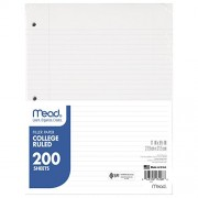 Notebook Paper, College Ruled, 200 Sht/Pk, White, Sold as 1 Package