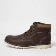 River Island Brown lace-up contrast sole work boots
