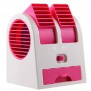 Mini Ventilador Climatizador Portátil Aromatizante 13,5cm à Pilhas ou USB Rosa CBRN1071