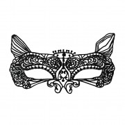Economy Cat Style Black String Masquerade Mask