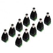 Kit 10 Conectores Borne x Plug P4 Macho Alimentação p/ Câmeras Cftv
